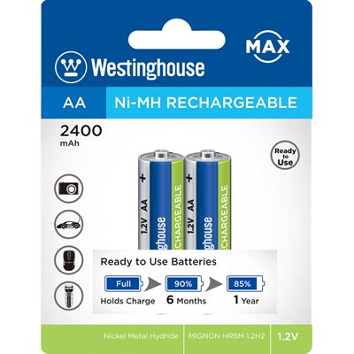 Westinghouse AA Low Self Discharge Nickel Metal Hydrid rechargeable battery,Max pwr, f/prof. (2pcs)
