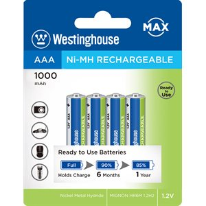 Batterie rechargeable Westinghouse AAA Nickel Métal Hydride à décharge lente, 1000mah, pré-chargées  (paquet de 4)