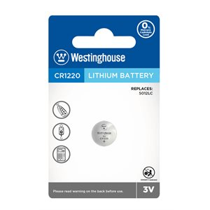 Westinghouse CR1220 3.0V lithium button cell (1 pc blister)