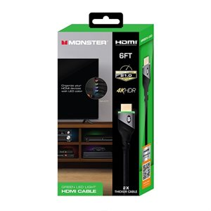 Monster 6ft High Speed 4K HDR HDMI CABLE with Built-in LED Light - Green