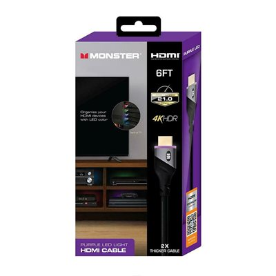 Monster 6ft High Speed 4K HDR HDMI CABLE with Built-in LED Light - Purple