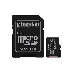 Carte MicroSDHC Kingston de 16GO Canvas Select Plus 100R A1 C10 + Adaptateur
