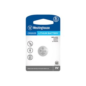 Westinghouse 24 x 1PK CR2025 Lithium Button Cells  Blister Cards in a White Box