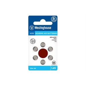 Westinghouse 10 x 6PK A312 Hearing Aid Batteries Blister Cards in a White Box