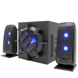 ACCESSORY POWER ENHANCE 2.1 Speakers - 80 watt peak stereo sound with subwoofer-Black