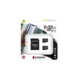 Kingston 32GB micSDHC Canvas Select Plus 100R A1 C10 2 Pack + 1 ADP (Canada)