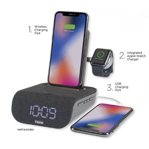 IHOME iWBTW200 Triple Charging Bluetooth Alarm Clock w/Wireless Fast Chg, USB & Apple Watch Chg*ENG*