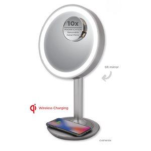 iHome LUX POWER-BT Vanity Spker w/Qi wireless Fast Charg&USB Chargi Silver/Nickel