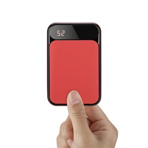 LAX Premium Compact Power Bank 7200mAh with USB-C input charging Red