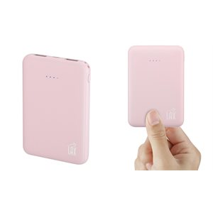 LAX Rubberized 6600mAh Dual USB Compact Power Bank-Pink-Eng Only