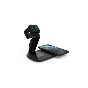 LAX Qi Certified Wireless Charger with Apple Watch Charging Stand-BLK