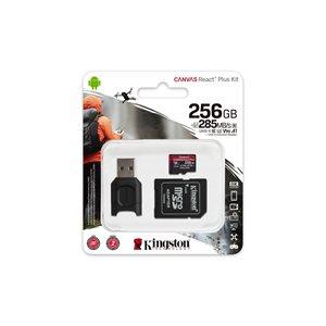 Kingston 256GB microSDXC React Plus SDCR2 w/Adapter + MLPM Reader (CAN Retail)