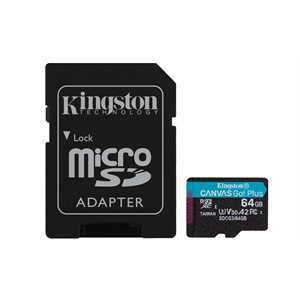 Kingston 64GB microSDXC Canvas Go Plus 170R A2 U3 V30 Card+ADP (Canada Retail)