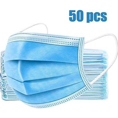 Masques jetables / Paquet de 50 Approuvé CE/FDA - Filtre 95% des bactéries - 3 couches