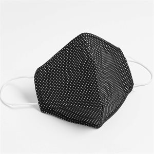 Washable Reusable Cotton Masks Black/Dots Pack of 5