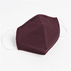 Washable Reusable Cotton Masks Burgundy/Dots Pack of 5