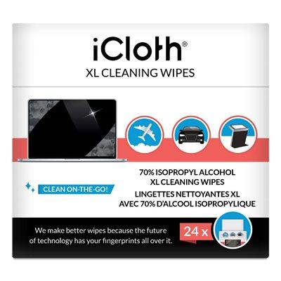Lingettes nettoyantes iCloth iCXL70 XL à base d'alcool isopropylique 70% - Boite de 24 lingettes