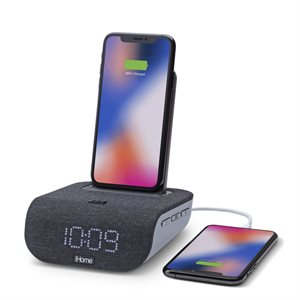 iHome iBTW20 Dual Charging Bluetooth Alarm Clock with Wireless and USB Charging BLK