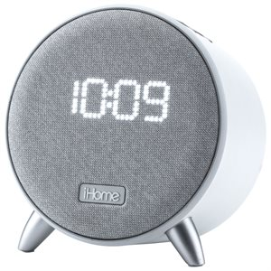 iHome POWERCLOCK Bluetooth Alarm Clock with Dual USB Charging and Ambient Light-Grey