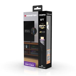 Monster 6ft High Speed 4K HDR HDMI CABLE with Built-in LED Light - Purple - English Package