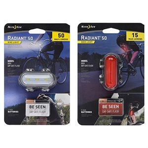 NiteIze Radiant 50 Bike Light KIT ( White + Red, 2pcs )