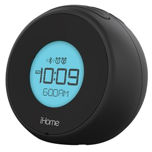 IHOME IBT18BC BLUETOOTH DUAL ALARM CLOCK WITH SPEAKERPHONE AND USB PORT CHARGING- BLACK