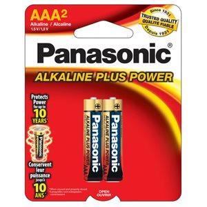Paquet de piles AAA X2 Alkaline Plus de Panasonic