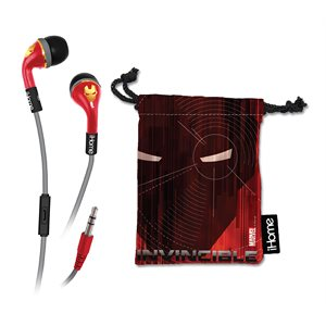 EKIDS VI-M15IM.FXV2 AVENGERS IRON MAN NOISE-ISOLATING EARBUDS WITH BUILT-IN MICROPHONE AND POUCH